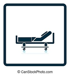 Hospital bed icon. Shadow reflection design. Vector...