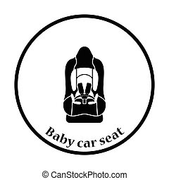 Baby car seat icon Thin circle design Vector illustration