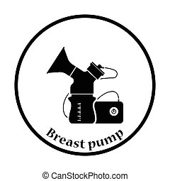 Electric breast pump icon Thin circle design Vector...