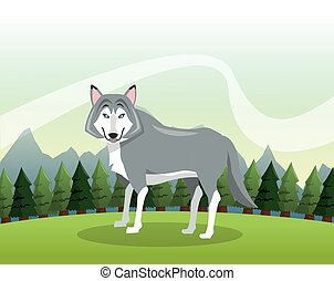 Wolf icon. Landscape background. Vector graphic - Animal...
