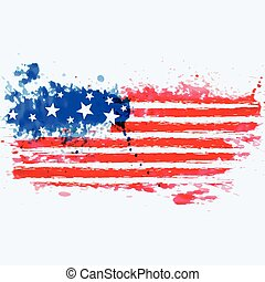 american flag made with watercolor