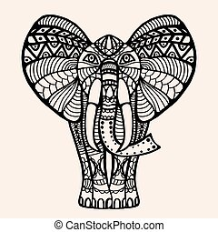decorated Indian Elephant - vector hand-drawn Henna mehndi...