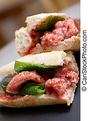 Sausage snack - Sausage butty with green pepper and tomato