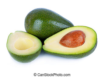Avocado - Fresh avocado fruits cit in half isolated on white...