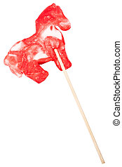 Horse shape lollipop isolated on white background