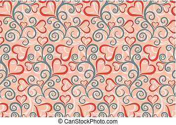 Seamless background with hearts.
