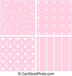 Vector set of 4 pink background patterns.