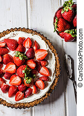 Cheesecake with strawberries, bio homemade strawberries from...