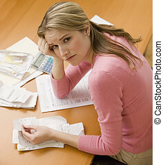 Woman Paying Bills