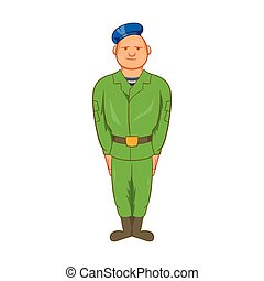 Man in green army uniform and blue beret icon in cartoon...