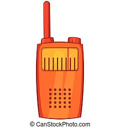 Orange portable handheld radio icon in cartoon style on a...