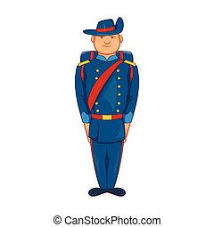 Man in a blue army uniform 19th century icon in cartoon...