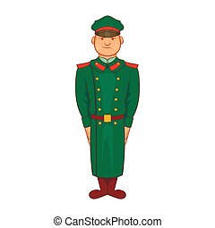 Military officer in greatcoat icon, cartoon style - Military...