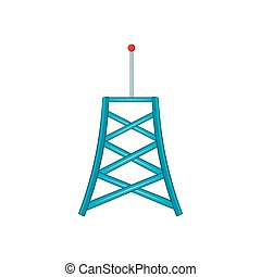 Wireless connection tower icon, cartoon style