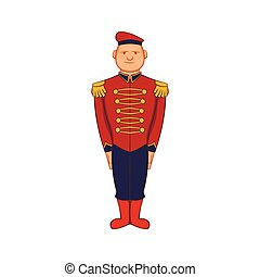 Man wearing army uniform 19th century icon in cartoon style...