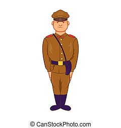 A man in army uniform icon, cartoon style