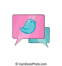 Bird on a speech bubble icon, cartoon style
