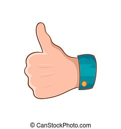 Thumb up gesture icon, cartoon style - Thumb up gesture icon...