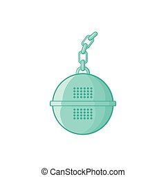 Steel strainer icon, cartoon style - Steel strainer icon in...