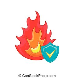 Fire and sky blue shield with tick icon in cartoon style on...