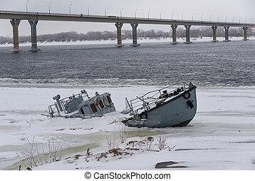 Sunken ship in a frozen river - Sinking ship in a frozen...