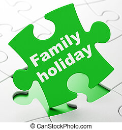 Tourism concept: Family Holiday on puzzle background -...