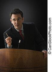 hombre de negocios, Dar, Dictar una conferencia