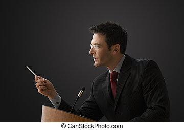 hombre de negocios, Dar, conferencia