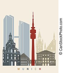Munich skyline poster in editable vector file