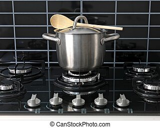 Stove Top Cooking, Stove Top Cooking - A stainless steel pot...