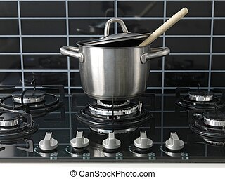 Stove Top Cooking - A stainless steel pot on a cook top