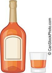 Whiskey bottle vector illustration - Full whiskey bottle ice...