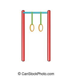 Horizontal bar with rings icon, cartoon style - Horizontal...