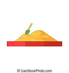 Children sandpit icon, cartoon style - Children sandpit icon...