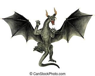 3d Dragon isolated - Elegant dragon isolated on white...