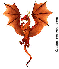 Dancing Dragon isolated - Red dancing dragon isolated on...