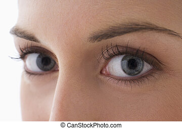 Close Up Of A Young Woman\'s Eyes - Close up view of the...