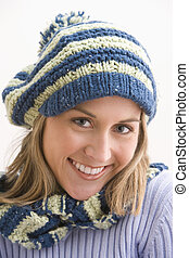 Attractive Young Woman in a Knit Cap - An attractive young...