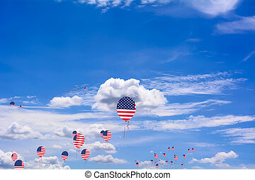 Flag of United States of America on balloon - Flag of United...