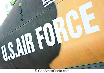 Air Force marking on the side of helicopter