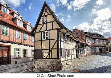 Old street in Quedlinburg - Old timber framing houses in...
