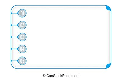 Simple blue boxes to fill your text and numbers