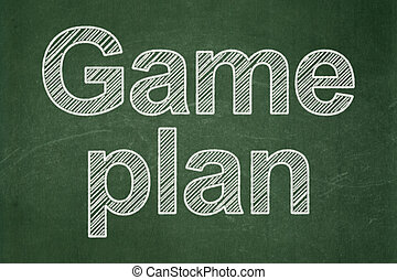 Business concept: Game Plan on chalkboard background