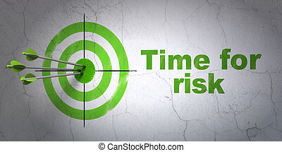 Time concept: target and Time For Risk on wall background -...