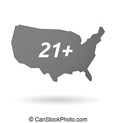 Isolated USA map icon with the text 21+ - Illustration of an...