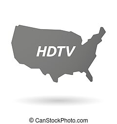 Isolated USA map icon with the text HDTV - Illustration of...