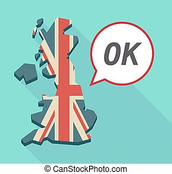 Long shadow United Kingdom map with the text OK -...