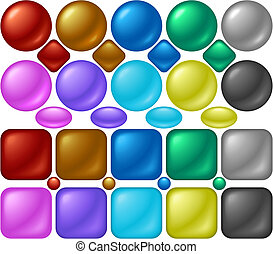 Pearl Buttons - A set of round and square buttons with pearl...