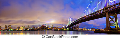 Philadelphia skyline panorama - Ben Franklin Bridge and...