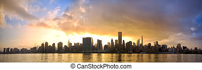 Manhattan skyline panorama - Manhattan Midtown skyline...